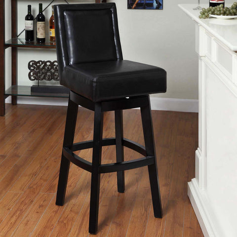 "Armen Living Wayne Swivel Barstool In Black Bonded Leather 30"" seat height LC4048BABL30"