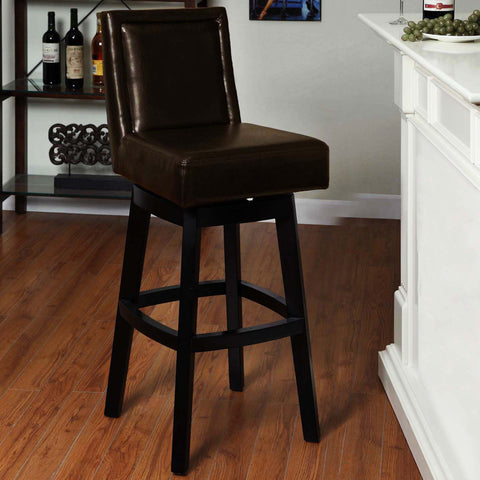 "Armen Living Wayne Swivel Barstool In Brown Bonded  Leather 26"" seat height LC4048BABR26"