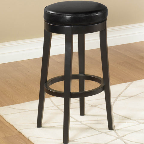 "Armen Living Mbs-450 30"" Backless Swivel Barstool in Black Bonded Leather LC450BABL30"