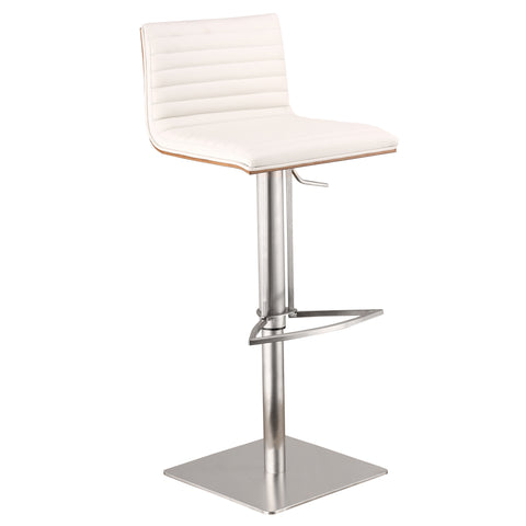 Armen Living Cafe Adjustable Brushed Stainless Steel Barstool in White Pu with Walnut Back