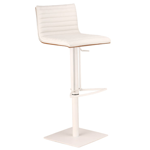Armen Living Cafe Adjustable White Metal Barstool in White Pu with Walnut Back