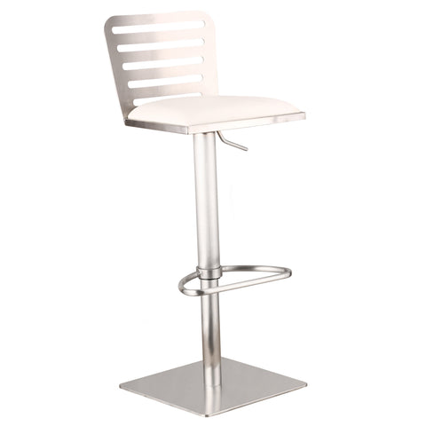 Armen Living Delmar Adjustable Brushed Stainless Steel Barstool in White Pu