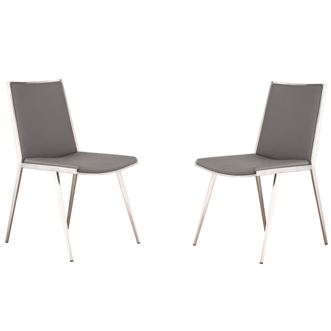 Armen Living Ibiza Brushed Stainless Steel Dining Chair in Gray Pu (Set Of 2)