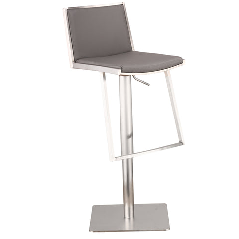Armen Living Ibiza Adjustable Brushed Stainless Steel Barstool in Gray Pu