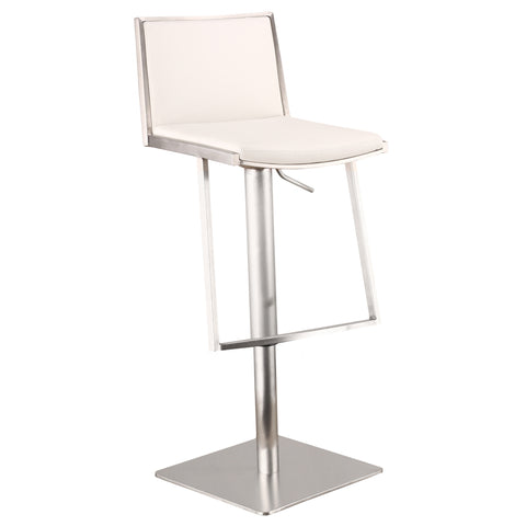 Armen Living Ibiza Adjustable Brushed Stainless Steel Barstool in White Pu