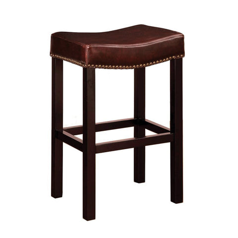 "Armen Living Tudor Backless 30"" Stationary Barstool In Antique Brown leather With Nailhead Accents Mbs-013  LCMBS013BABC30"