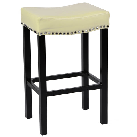 "Armen Living Tudor 26"" Stool Cream Bonded Leather with Chrome Nails LCMBS013BACR26"