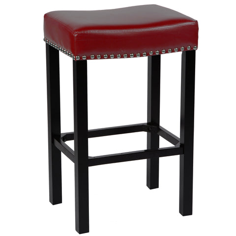 "Armen Living Tudor 26"" Stool Red Bonded Leather with Chrome Nails LCMBS013BARE26"