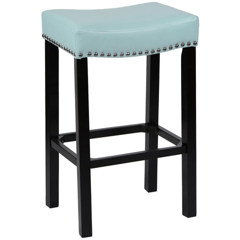 "Armen Living Tudor 30"" Stool Sky Blue Bonded Leather with Chrome Nails LCMBS013BASB30"