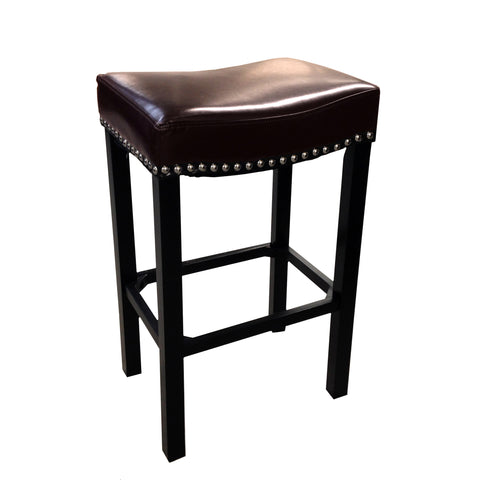 "Armen Living Tudor Backless 30"" Stationary Barstool In Antique Brown leather With Nailhead Accents Mbs-013  LCMBS013BAXX30"
