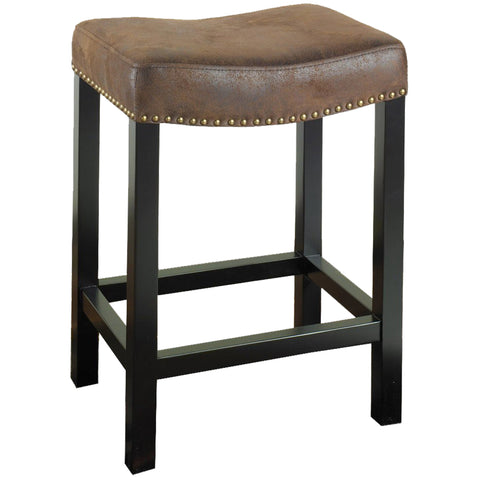 Armen Living Tudor Backless 26 Stationary Barstool Covered In A Wrangler Brown Fabric with Nailhead Accents Mbs-013