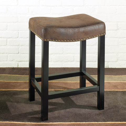 "Armen Living Tudor Backless 30"" Stationary Barstool Covered In A Wrangler Brown Fabric with Nailhead Accents. Mbs-013  LCMBS013BAWR30"
