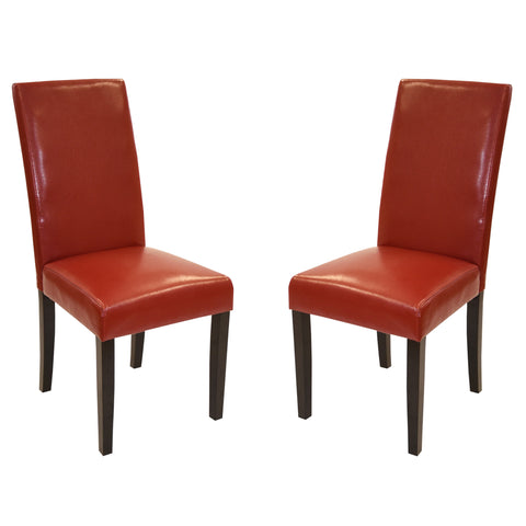 Armen Living Red Bonded Leather Side Chair Md-014 (Set Of 2)