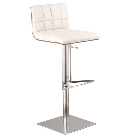 Armen Living Oslo Adjustable Brushed Stainless Steel Barstool in White Pu with Walnut Back