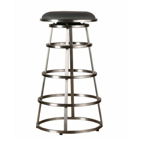 "Armen Living Ringo 30"" Backless Brushed Stainless Steel Barstool in Gray Pu LCRISW30BAGRB201"