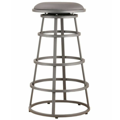 "Armen Living Ringo 30"" Backless Gray Metal Barstool in Gray Pu LCRISW30BAGRBA"