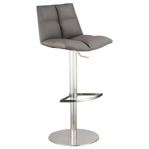 Armen Living Roma Adjustable Brushed Stainless Steel Barstool in Gray Pu