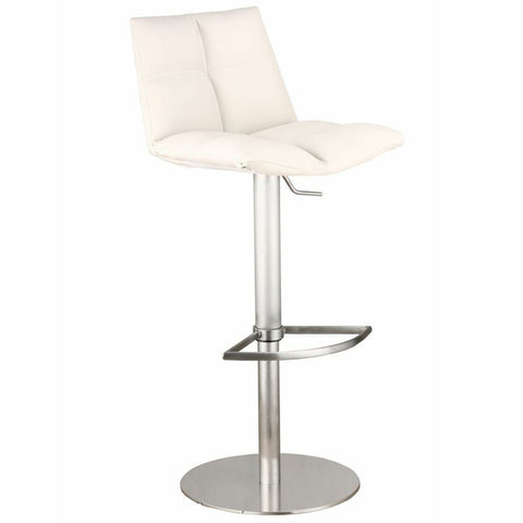Armen Living Roma Adjustable Brushed Stainless Steel Barstool in White Pu