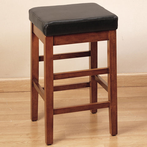 "Armen Living Sonata 26"" Stationary Barstool in Brown Bonded Leather LCSTBACHBR26"
