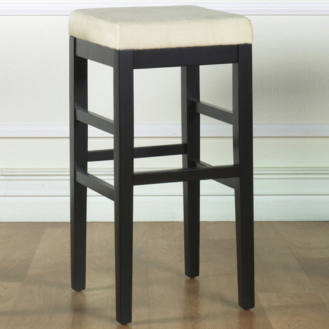 "Armen Living Sonata 26"" Stationary Barstool in Beige Microfiber with Black Legs LCSTBAMFBE26"