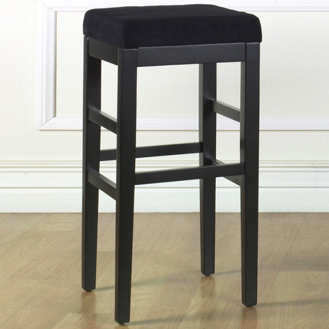 "Armen Living Sonata 30"" Stationary Barstool in Black Microfiber with Black Legs   LCSTBAMFBL30"
