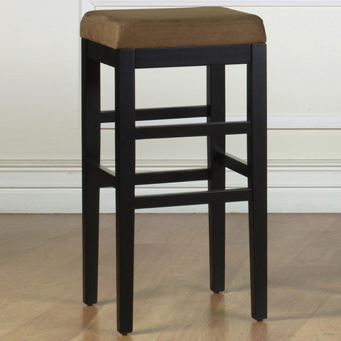 "Armen Living Sonata 26"" Stationary Barstool in Brown Microfiber with Black Legs LCSTBAMFBR26"