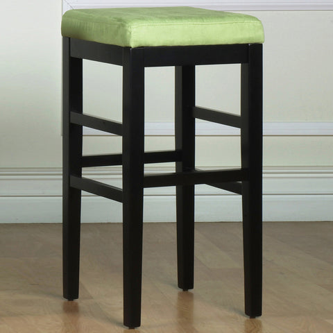 "Armen Living Sonata 30"" Stationary Barstool in Brown Microfiber with Black Legs LCSTBAMFBR30"