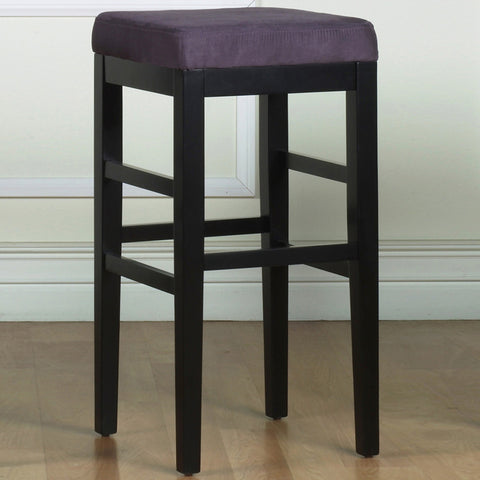 "Armen Living Sonata 26"" Stationary Barstool in Eggplant Microfiber with Black Legs LCSTBAMFPR26"