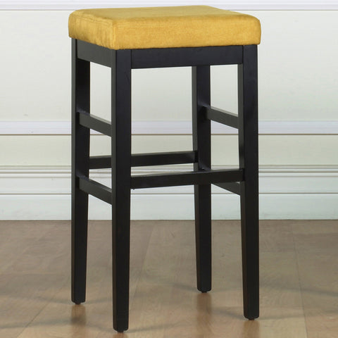 "Armen Living Sonata 26"" Stationary Barstool in Yellow Microfiber with Black Legs LCSTBAMFYE26"