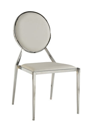 Chintaly Oval Shaped Back Side Chair White Pu LISA-SC-WHT