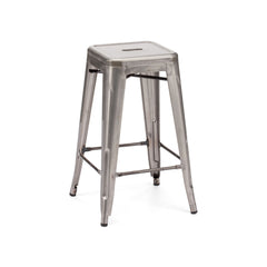 Dreux Clear Gunmetal Steel Stackable Counter Stool (Set of 4) - YourBarStoolStore + Chairs, Tables and Outdoor