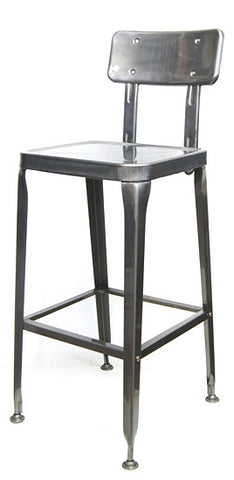 Industrial Commercial Octane Bar Stool Pewter Glossy