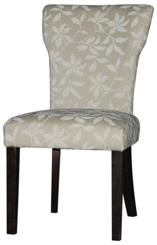 Chintaly Curved Back Parson Side Chair Neutral Floral Fab. MELANIE-PRS-SC