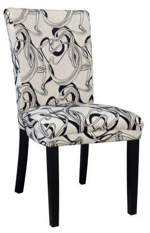 Chintaly Wide Back Parson Side Chair Black & White MISTY-PRS-SC