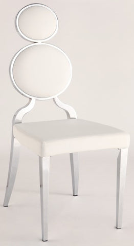 Chintaly Double Ring Back Side Chair White Pu OPRAH-SC-WHT