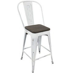 Oregon High Back Counter Stool - White & Espresso