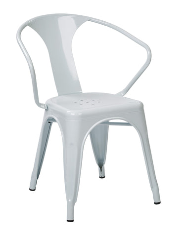 "Tolix 30"" Metal Chair (4-Pack) (White)"