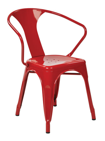 "Tolix 30"" Metal Chair (4-Pack) (Red)"