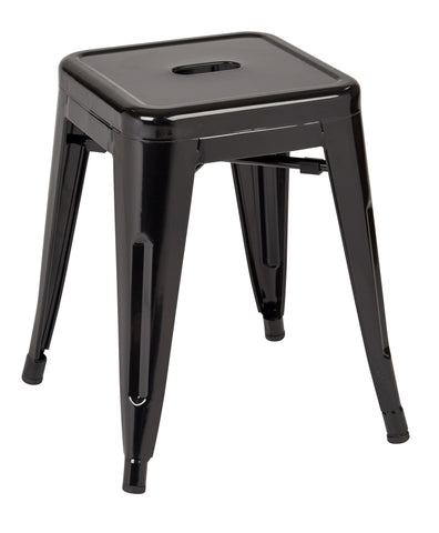 "Tolix Patterson 18"" Metal Backless Stool in Black Solid Finish, Fully Assembled, 4-Pack"