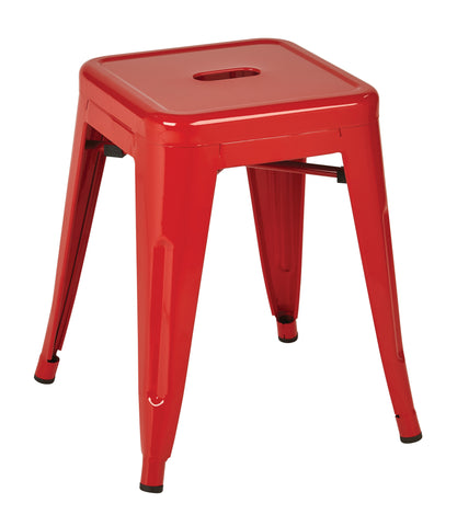 "Tolix Patterson 18"" Metal Backless Barstool in Red Solid Finish, Fully assembled, 4 Pack"
