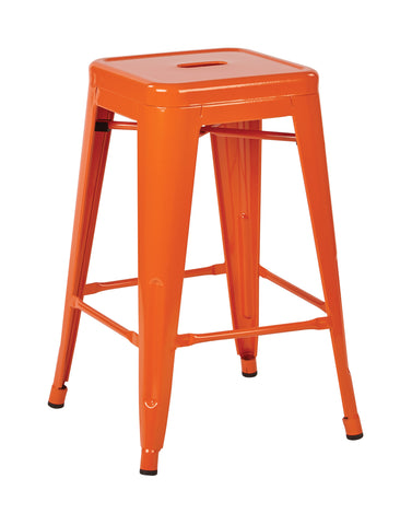 "Tolix Patterson 24"" Steel Backless Barstool in Orange Solid Finish, Fully Assembled, 4-Pack"
