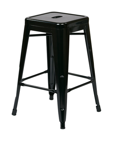 "Tolix 24"" Steel Backless Barstool (2-Pack) (Black)"