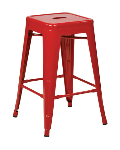 "Tolix 24"" Steel Backless Barstool (2-Pack) (Red)"