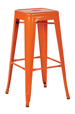 "Tolix Patterson 30"" Steel Backless Barstool in Orange Solid Finish, Fully Assembled, 4-Pack"