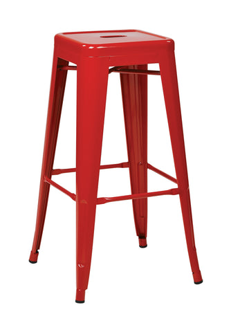 "Tolix 30"" Steel Backless Barstool (4-Pack) (Red)"