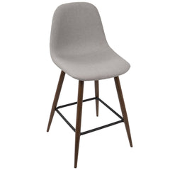 Pebble Counter Stool - Walnut & Light Grey