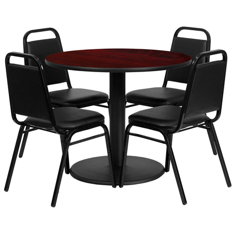 Round Mahogany Laminate Table Set with 4 Black Trapezoidal Back Banquet Chairs