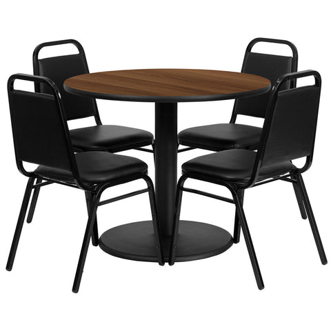 Round Walnut Laminate Table Set with 4 Black Trapezoidal Back Banquet Chairs
