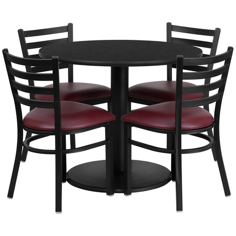 Round Black Laminate Table Set with 4 Ladder Back Metal Chairs - Burgundy Vinyl Seat