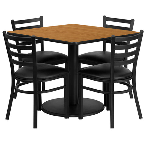 Square Natural Laminate Table Set with 4 Ladder Back Metal Chairs - Black Vinyl Seat